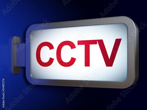 Safety concept: CCTV on billboard background