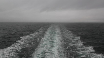 Stormy ship wake. Crossing from Nanaimo to Vancouver. BC.