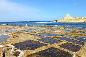 Salt pans in Gozo, Malta
