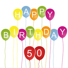 Happy Birthday Luftballons Karte - 50