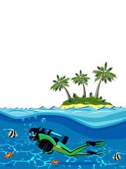 Diver swimming underwater near the island
