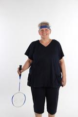 Frau mit Badmintonschläger