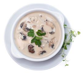 Fresh Mushroom Soup (on white)
