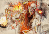 Hephaestus. Greek myths and legends - full sized hand drawing poster