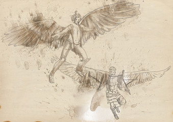 Icarus and Daedalus - full sized hand drawing