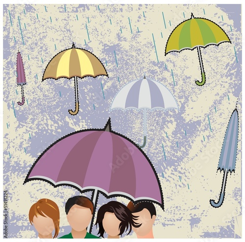 Crowd of people with umbrellas. Colorful vector background
