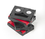 4 stacked mini dvc tapes. clipping path to isolate