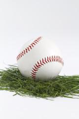 baseball on cut grass in white studio.