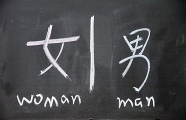 woman and man symbols with Chinese writing on the blackboard