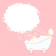 Woman In Bathtub Soap Bubbles Dots Pink