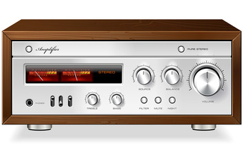 Vintage Hi-Fi analog Stereo Amplifier vector