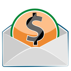 Mail envelope with dollar currency sign isolated