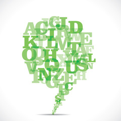 green alphabets make a message bubble