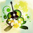 Grunge plumeria flowers and guitar