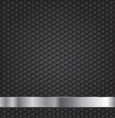 Black hexagon metal grill texture background.