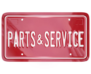 Parts and Service License Plate Automotive Car Repair Shop