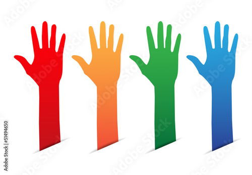 Hands up color blank tag
