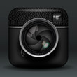 Total black photo camera icon, vector Eps10 illustration.