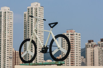 bicycle and high-rises in Sha Tin