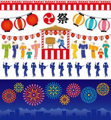 夏祭り 盆踊り 花火大会 広告 イラスト