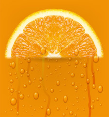 Orange fruit with water drops background.