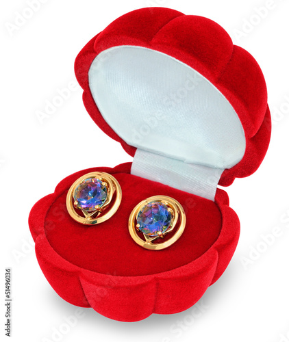Gold earrings with rock crystal (quartz) - 51496036