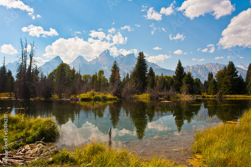 Teton Reflection in Grand Teton National Park,USA