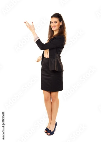 Businesswoman Gesturing in Copyspace