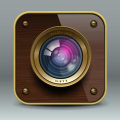 Wooden luxury photo camera icon, vector Eps10 illustration.