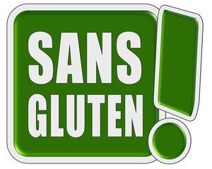 !-Schild grün quad SANS GLUTEN