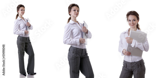 Beautiful businesswoman in suite isolated on white