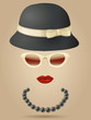 Vintage silhouette with ladies hat, sunglasses and necklaces