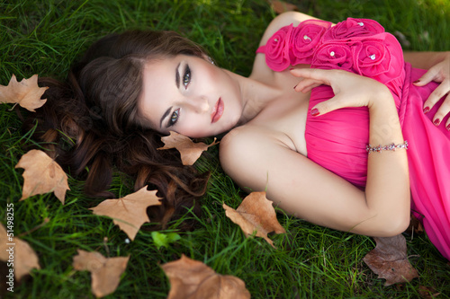 Beautiful woman on nature spring ourdoors