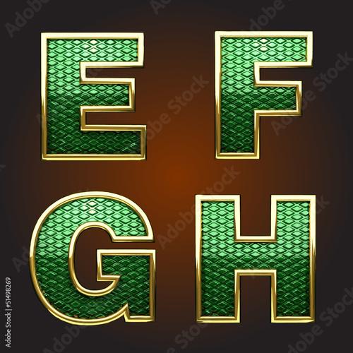 Vector golden figure with green