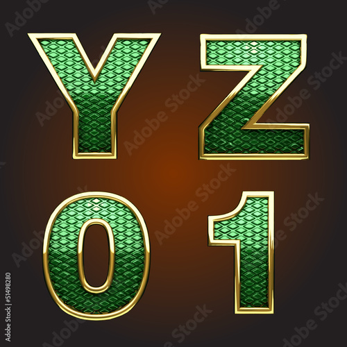 Vector golden figure with green