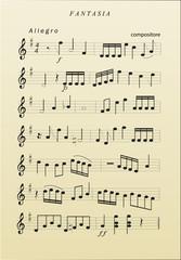 Musiknoten auf Notenblatt