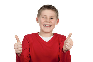 Young boy giving you thumbs up