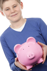 boy with pink piggybank
