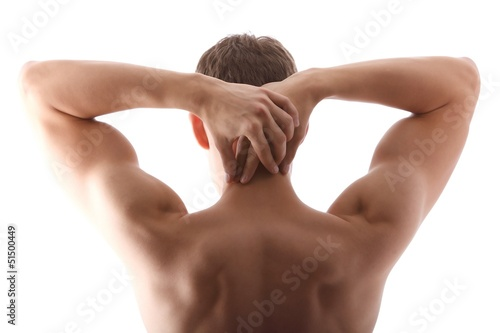 canvas print picture Backside of a man (white background)