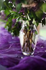 lilac decoration and food