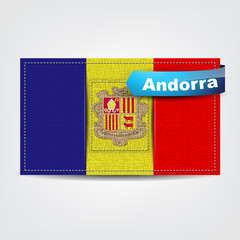 Fabric texture of the flag of Andorra