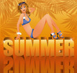 Summer time card with sexy girl in bikini, vector