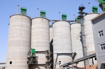 raw material siloes in a cement plant