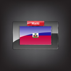 Glass button of the flag of Haiti