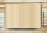 Vector blank magazine on wood texture background