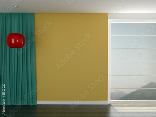 Room with a bright yellow wall