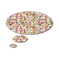 speech bubble - Portrait of a lot of people