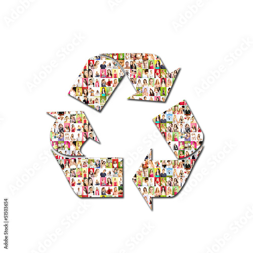 recycling icon - Portrait of a lot of people