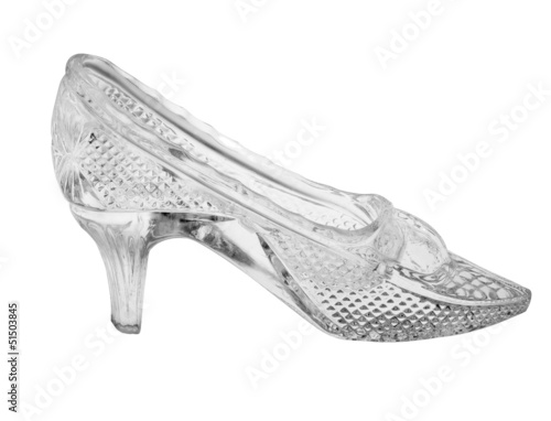 glass single shoe isolated on white