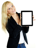 Business woman presenting her tablet pc with copyspace